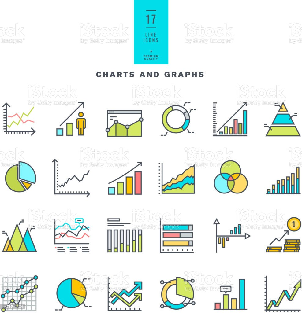 Set of line modern color icons of charts and graphs vector art illustration