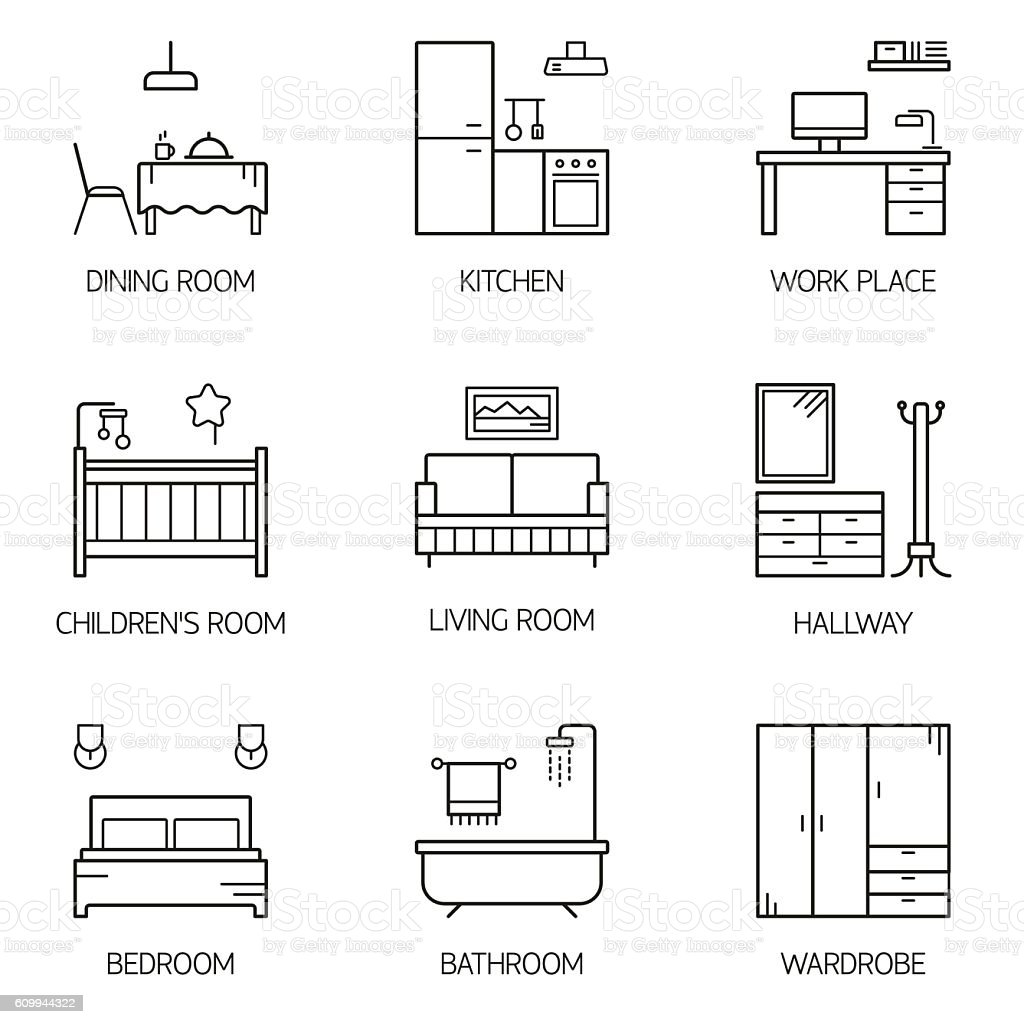 Set Of Line Vector Interior Design Room Types Icons Royalty Free Stock Art