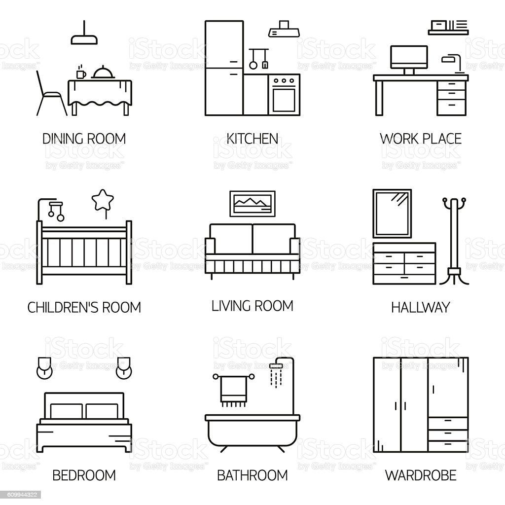 Set of line vector interior design room types icons. vector art illustration