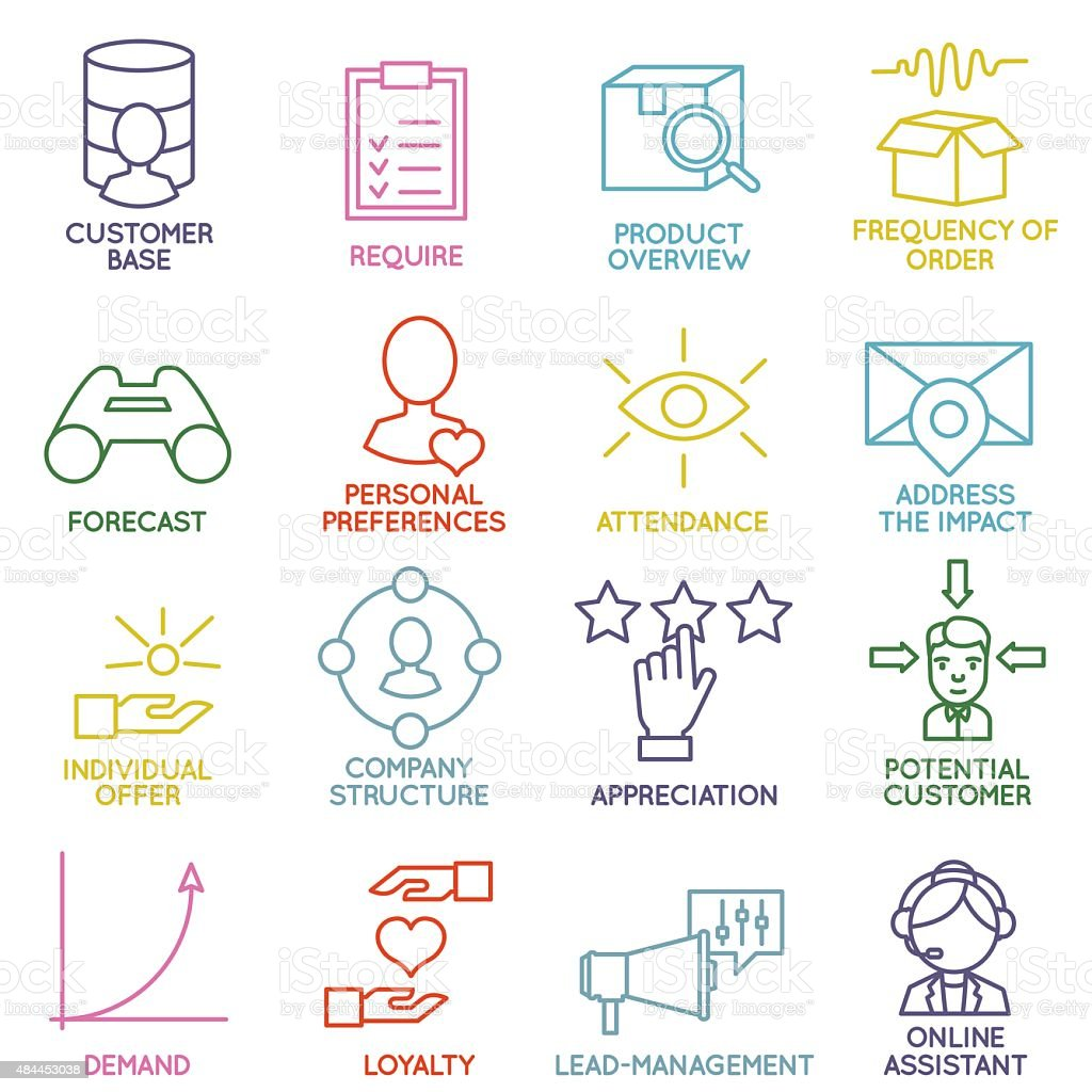 Set of Linear Customer Relationship Management Icons - part 2 vector art illustration