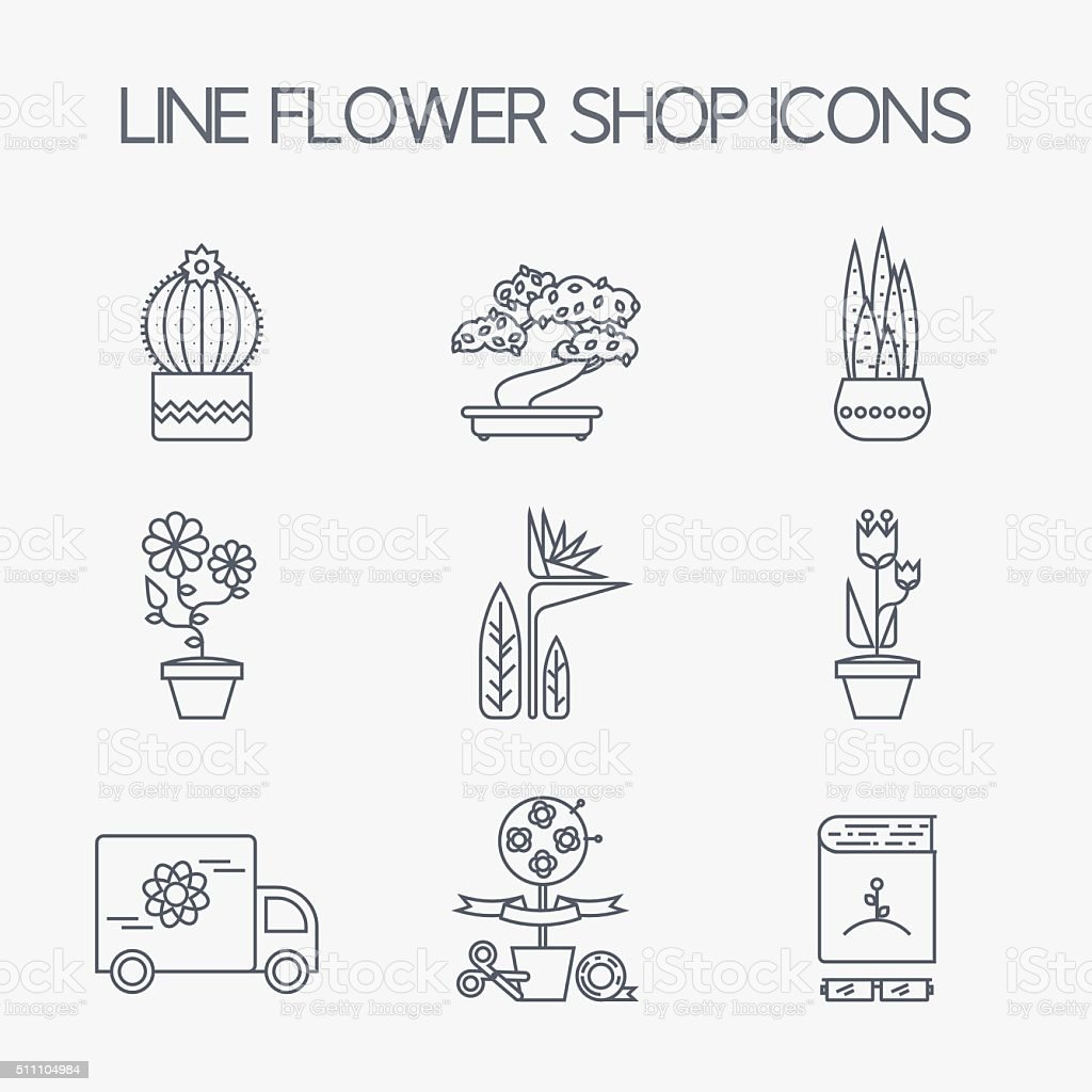 Set of linear icons for Flower or Florist shop. vector art illustration