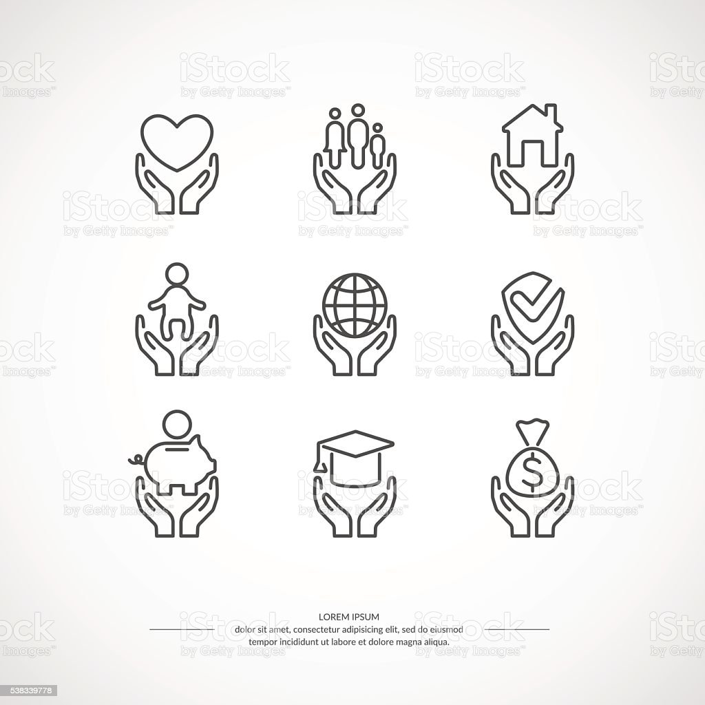 Set of linear icons support and care. vector art illustration