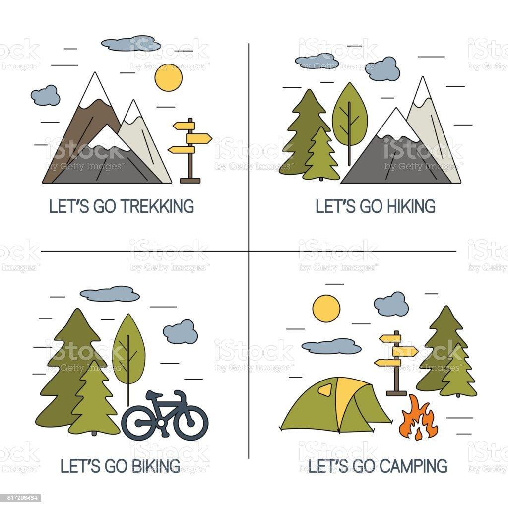 Set of linear landscapes design. Vector illustrations for hiking, trekking, tourism and travels concept. vector art illustration