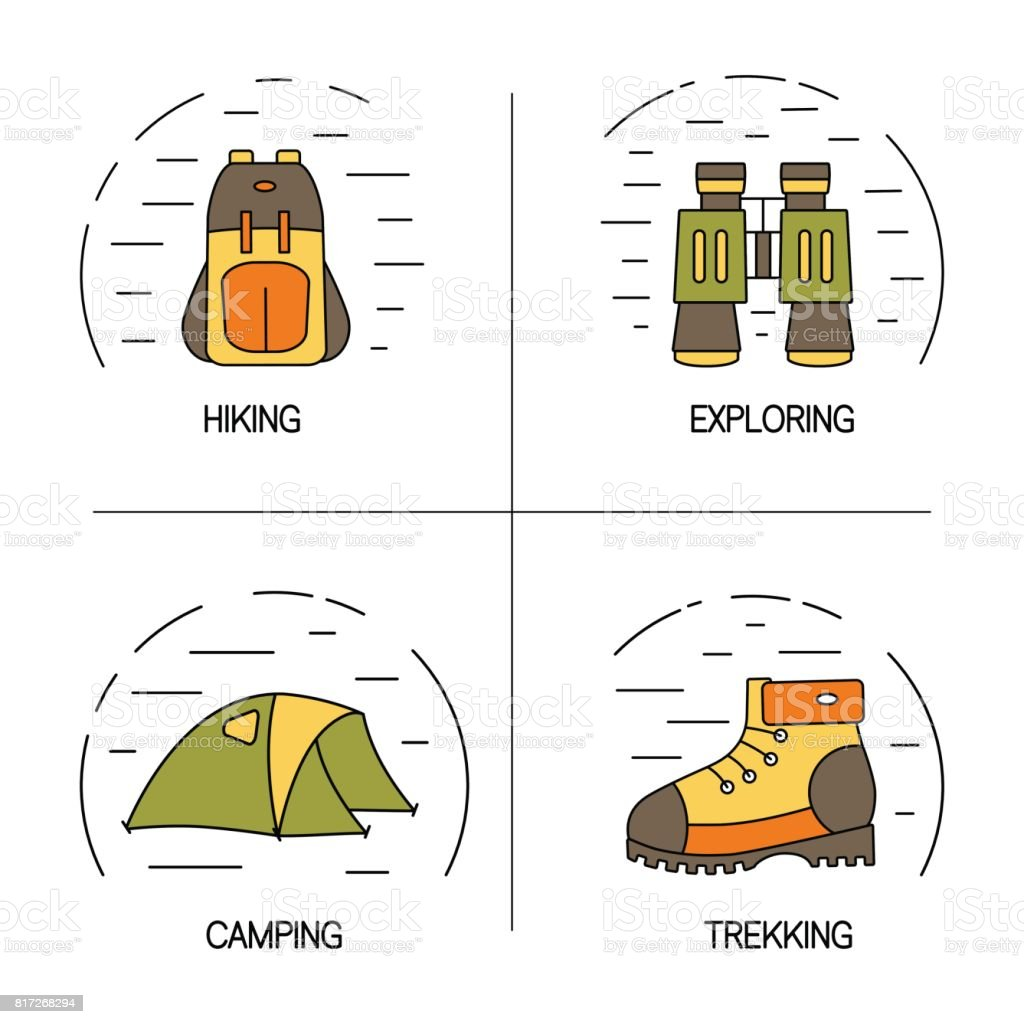 Set of linear logo design for hiking, trekking, tourism and travels concept. vector art illustration