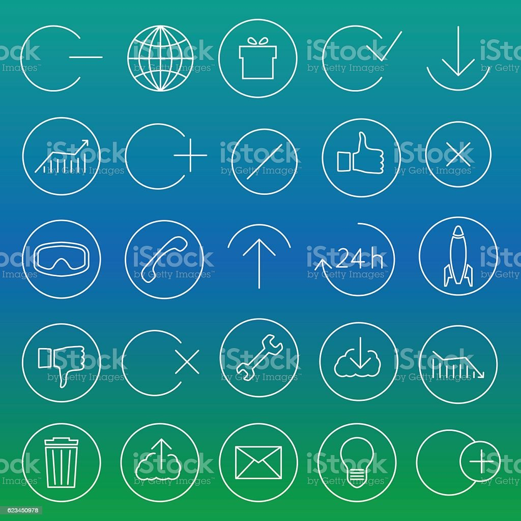 Set of linear universal icons, vector illustration. vector art illustration