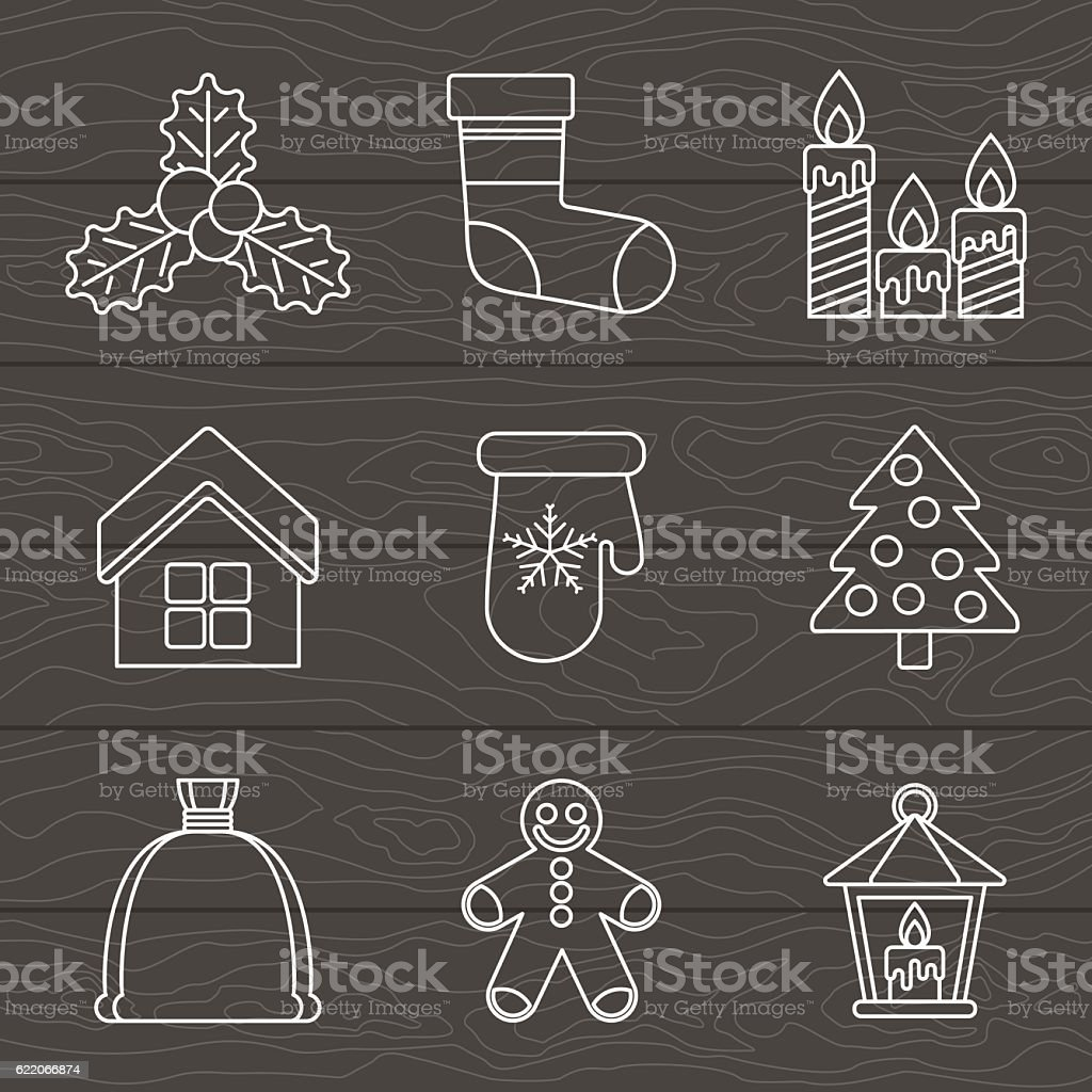 set of lines christmas icons on color vector art illustration