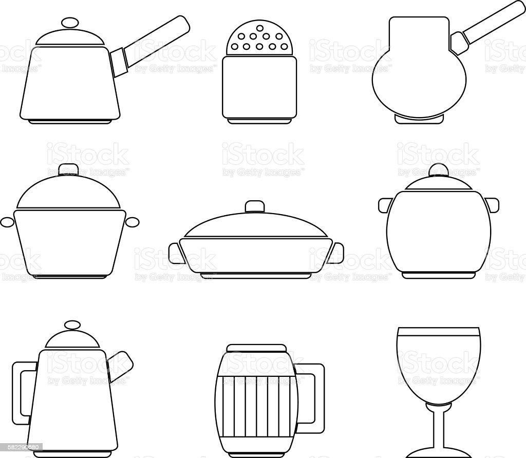 Set of lines icons of dishes on white background vector art illustration