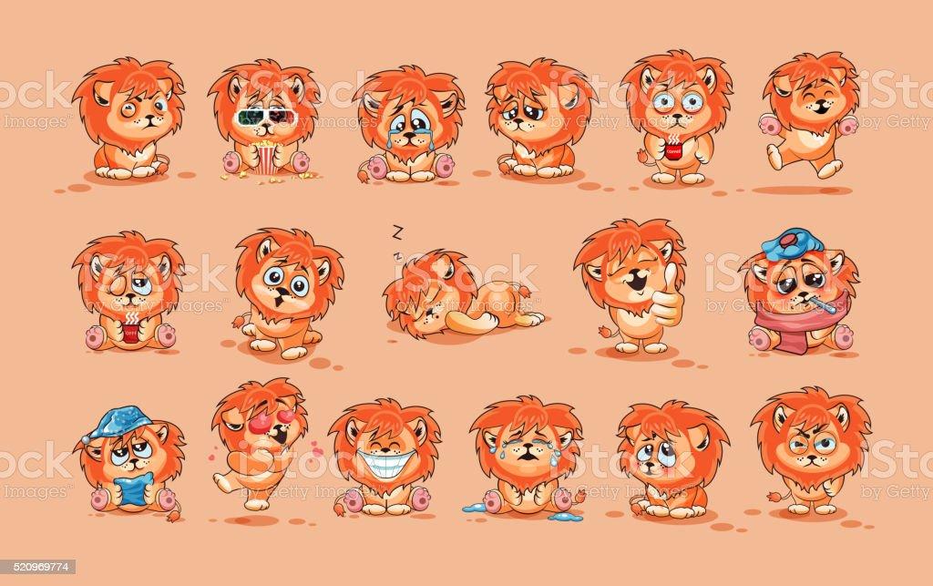 Set of Lion cubs vector art illustration