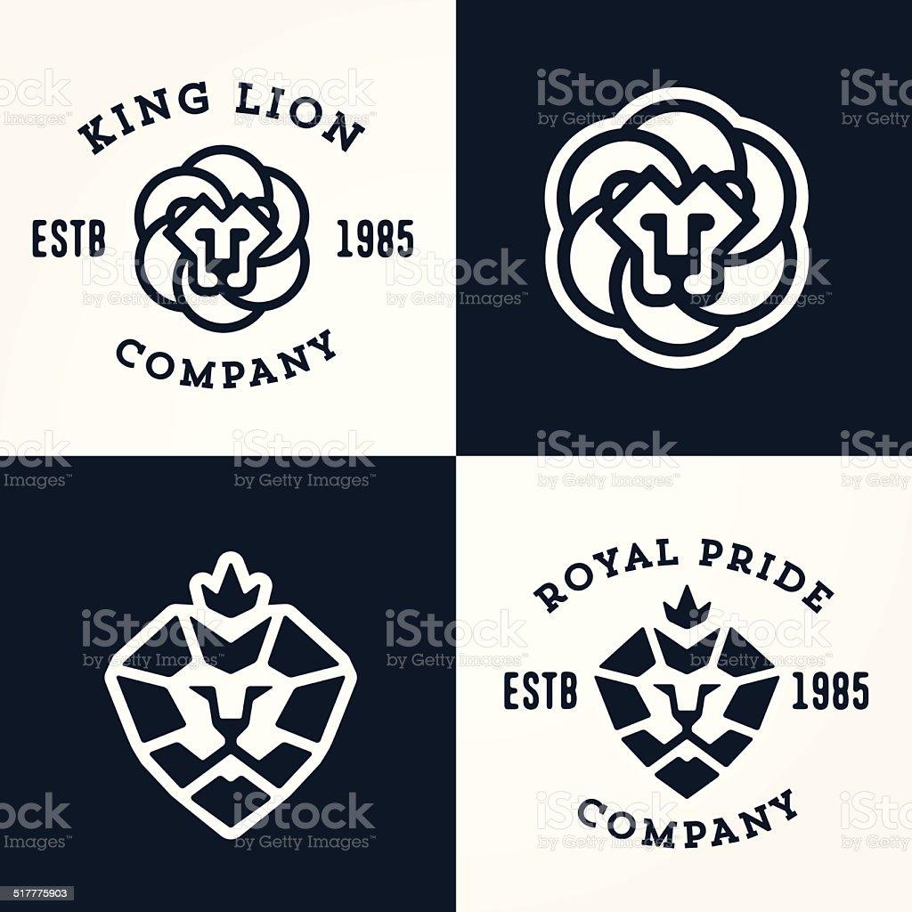 Set of Lion logo templates vector art illustration