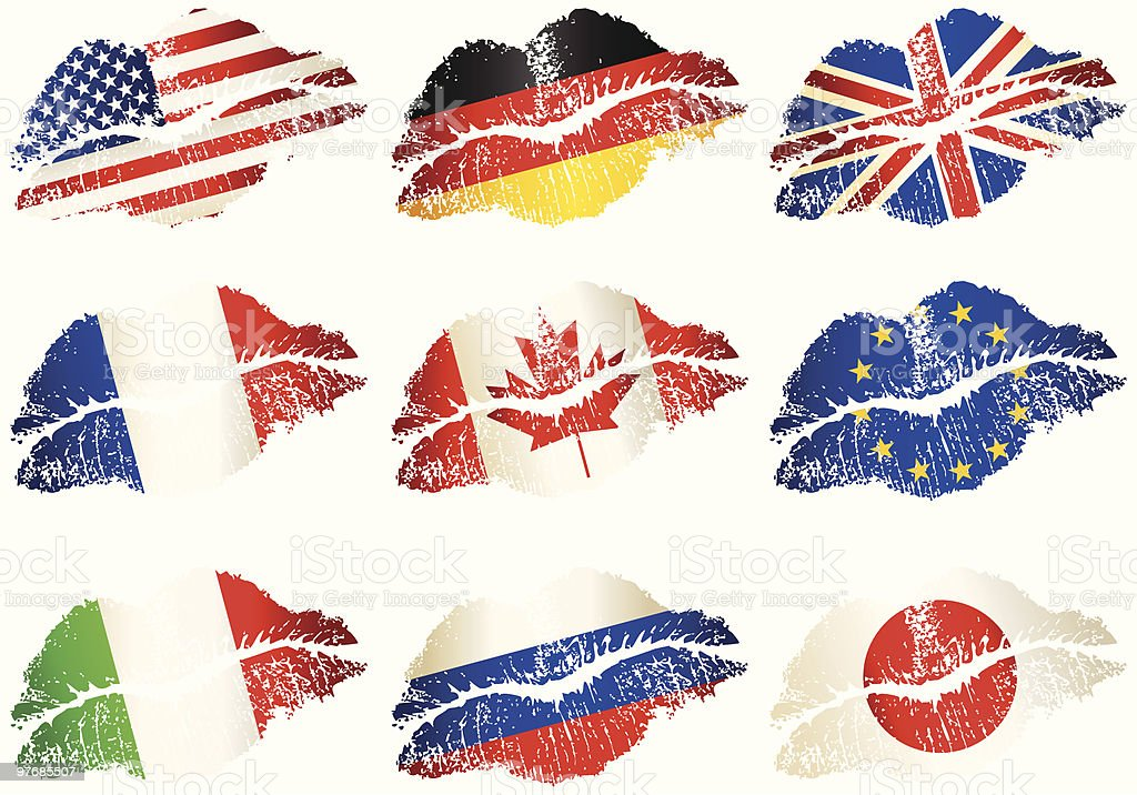 Set of lips-flags royalty-free stock vector art