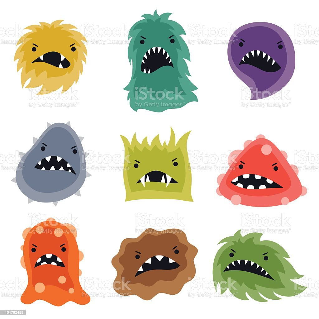 Set of little angry viruses and monsters vector art illustration