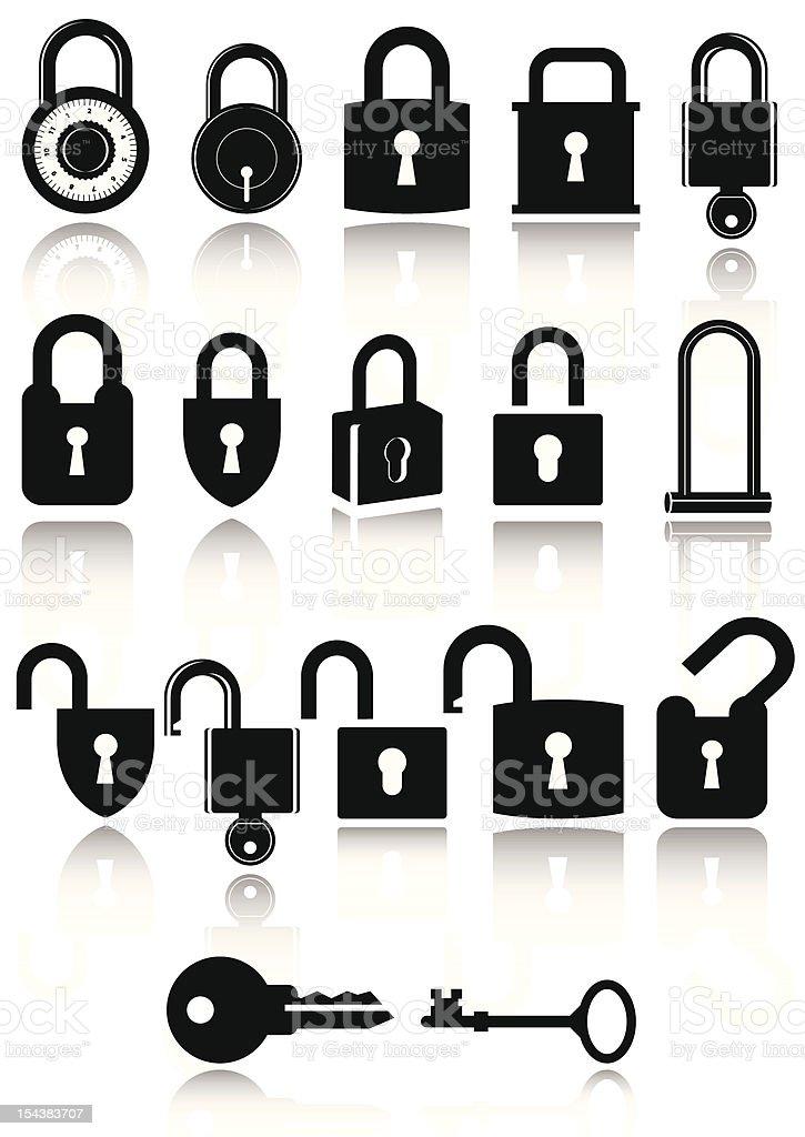 Set of lock icons vector art illustration