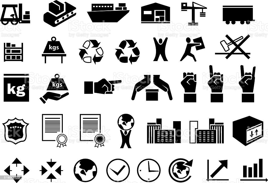 set of logistic icons 2 vector art illustration
