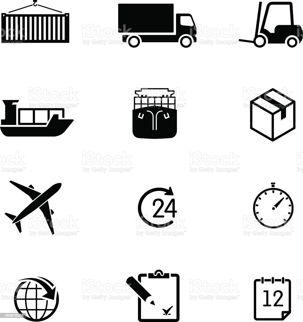 Set of logistic icons on white background. Elements vector art illustration