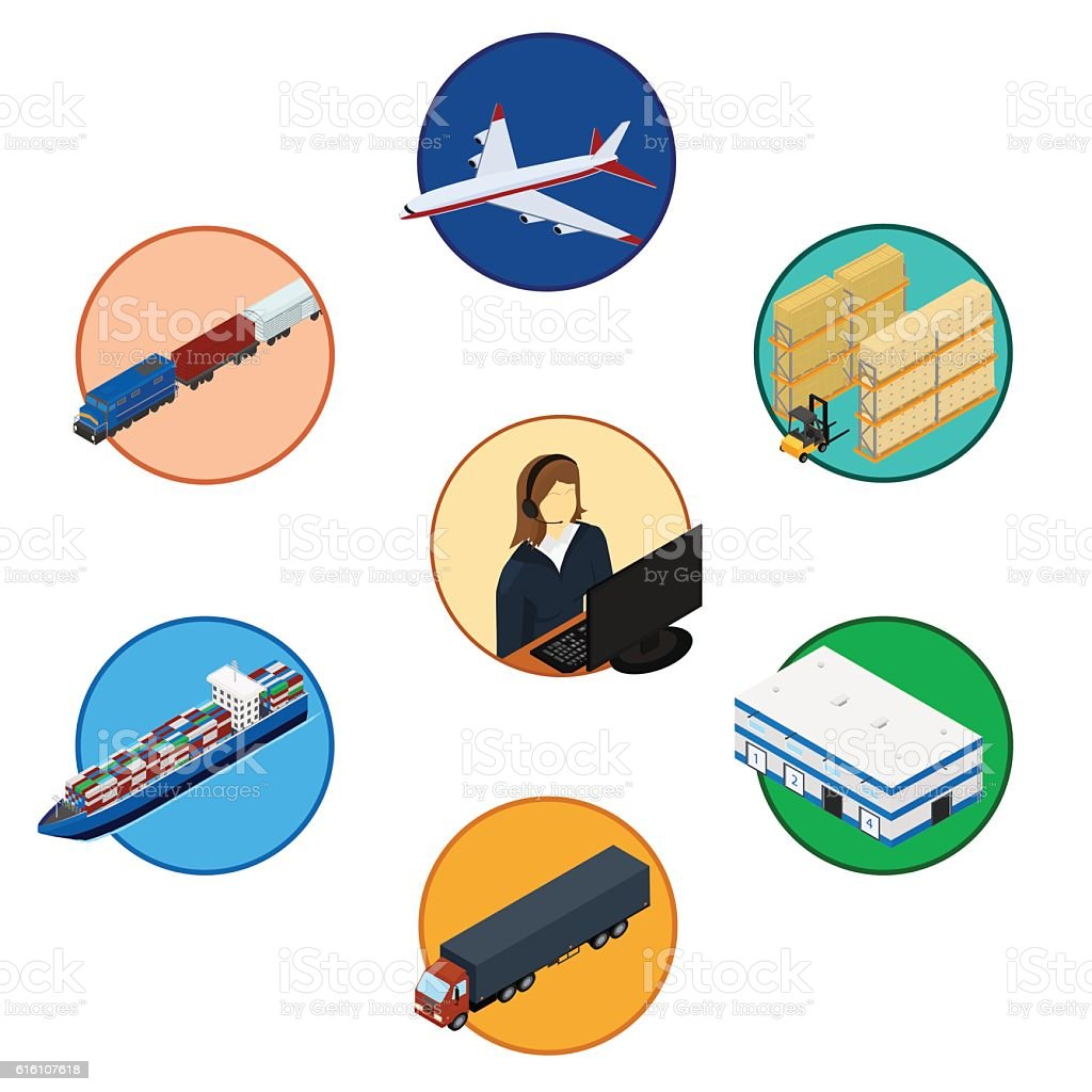 Set of logistics icons. vector art illustration