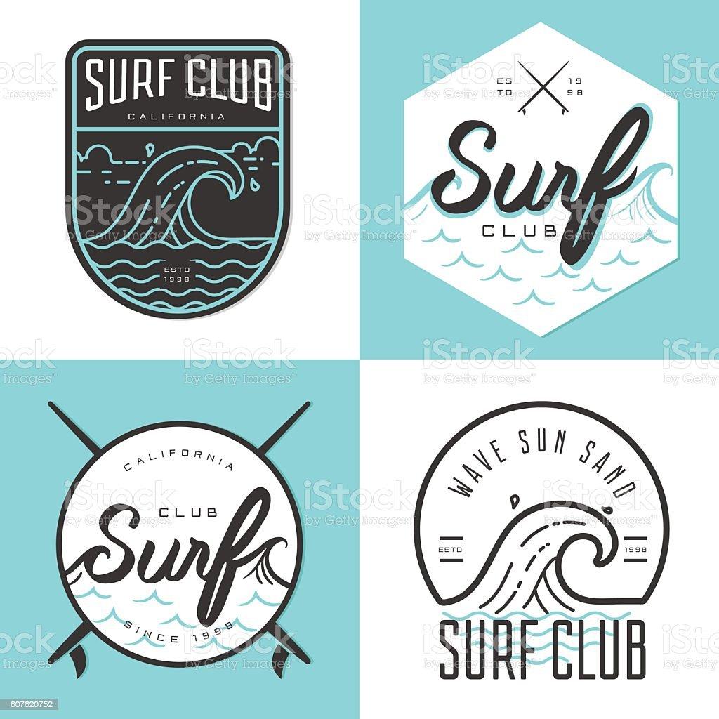 Set of logo, badges, emblem and elements for surfing club. vector art illustration