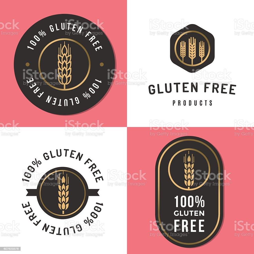 Set of logo, badges gluten free product. Package design. vector art illustration
