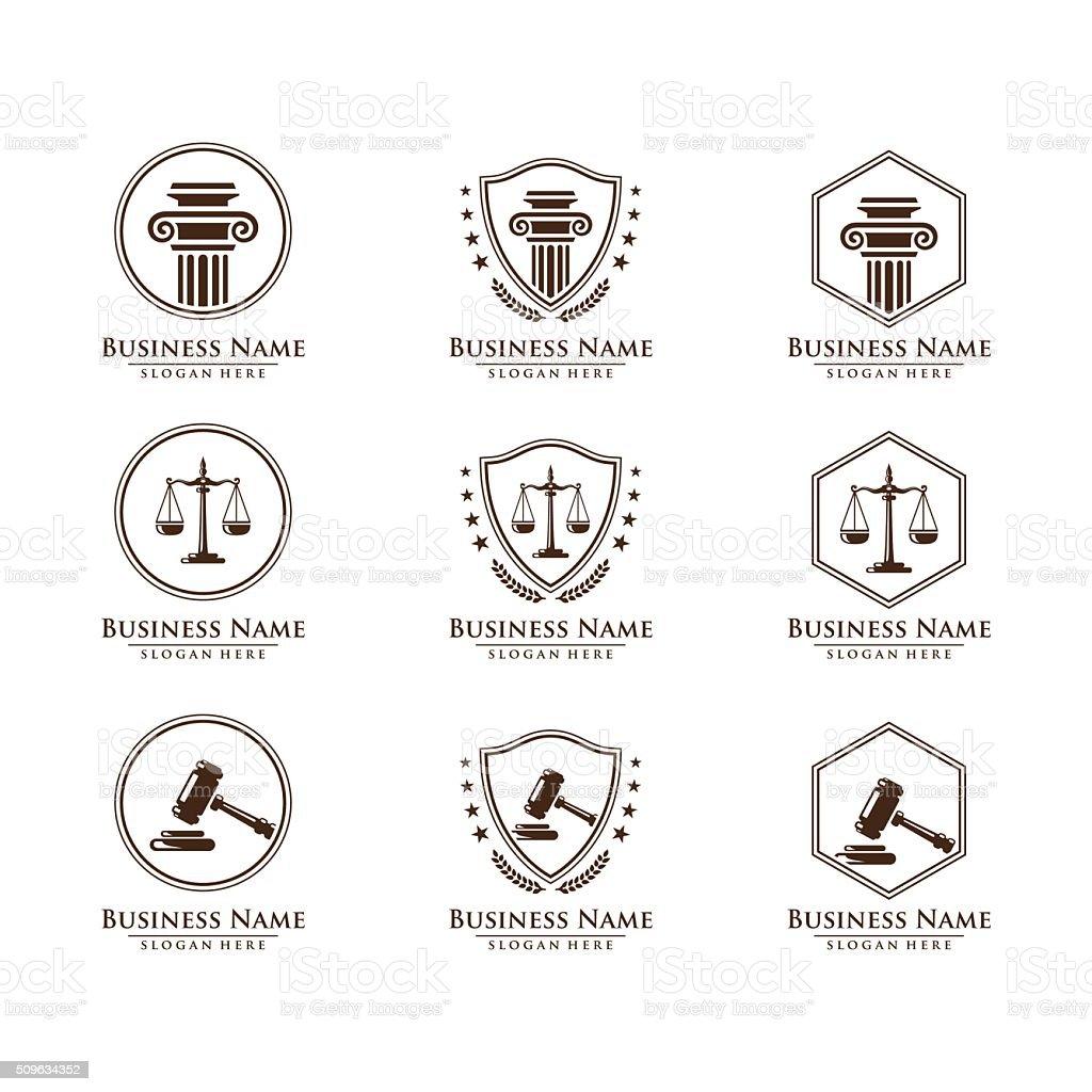 Set of logo design for law, legal, attorney vector art illustration