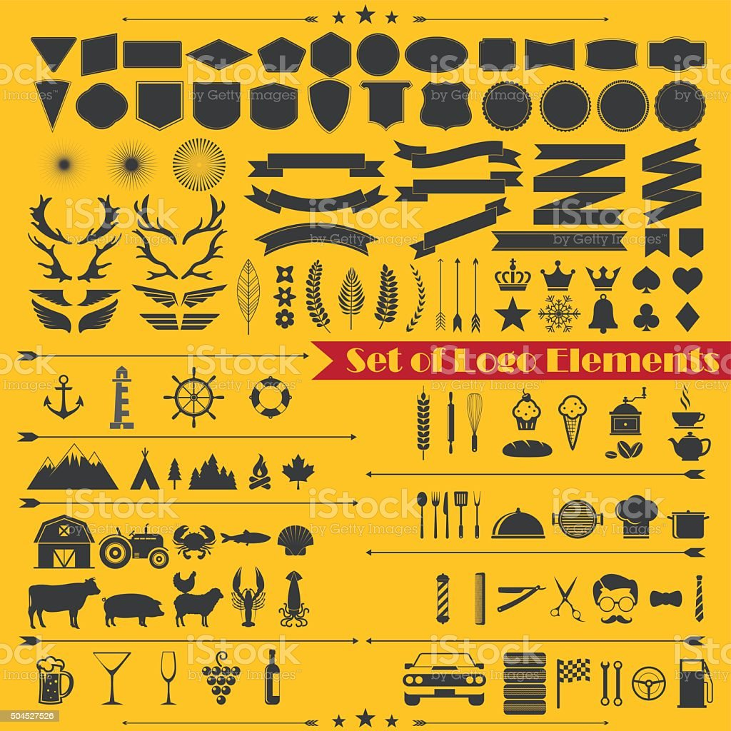 set of logo elements 1 vector art illustration