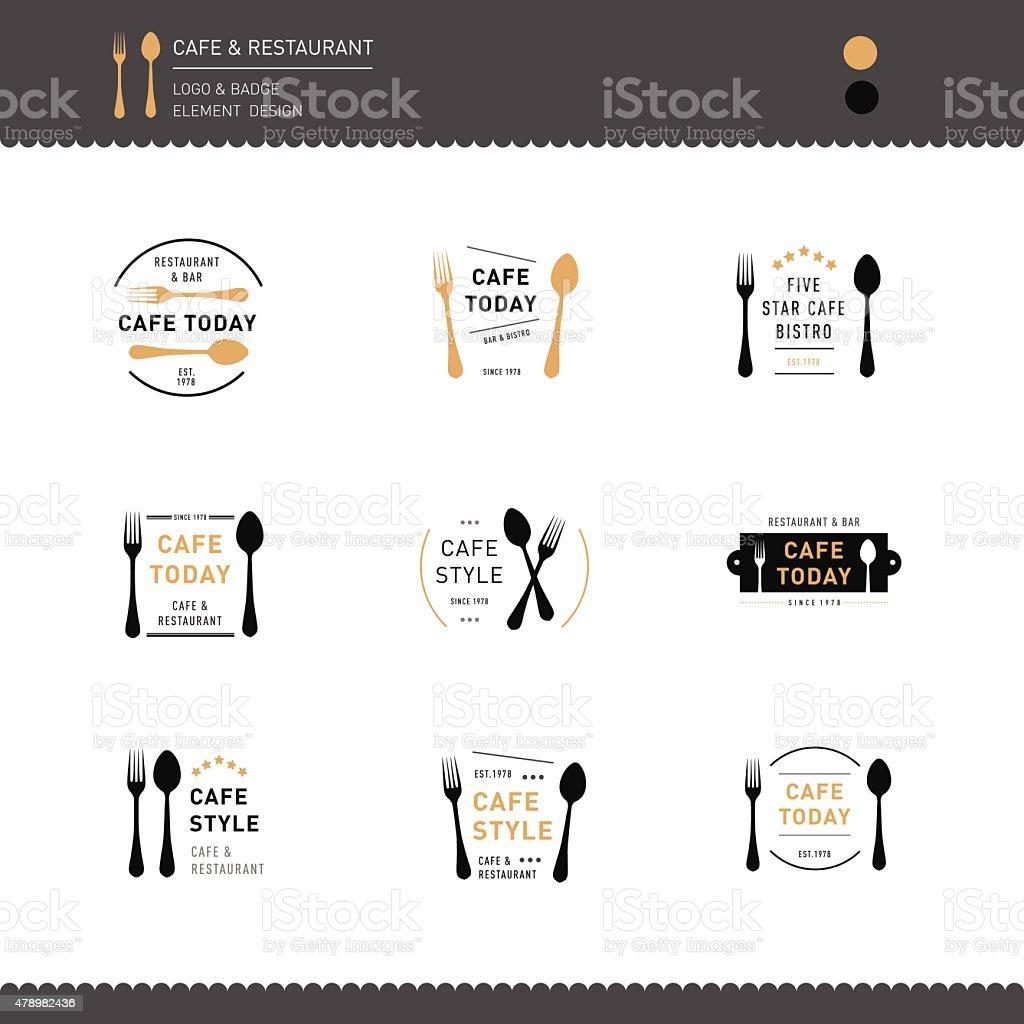 Set of Logo Restaurant and Cafe design icon vector art illustration