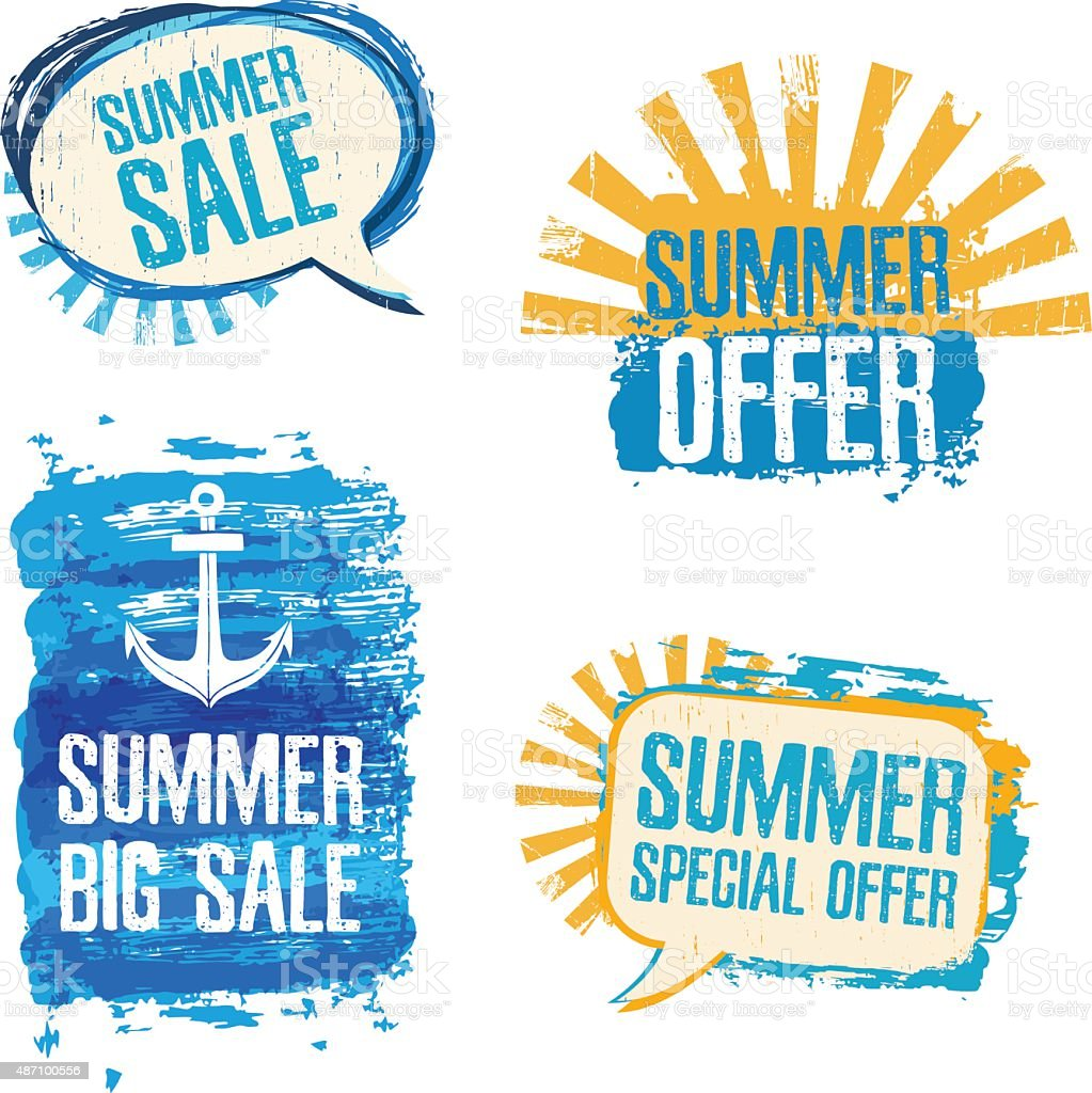 Set of logos, badges, stickers, conversational loot of Summer Sale. vector art illustration