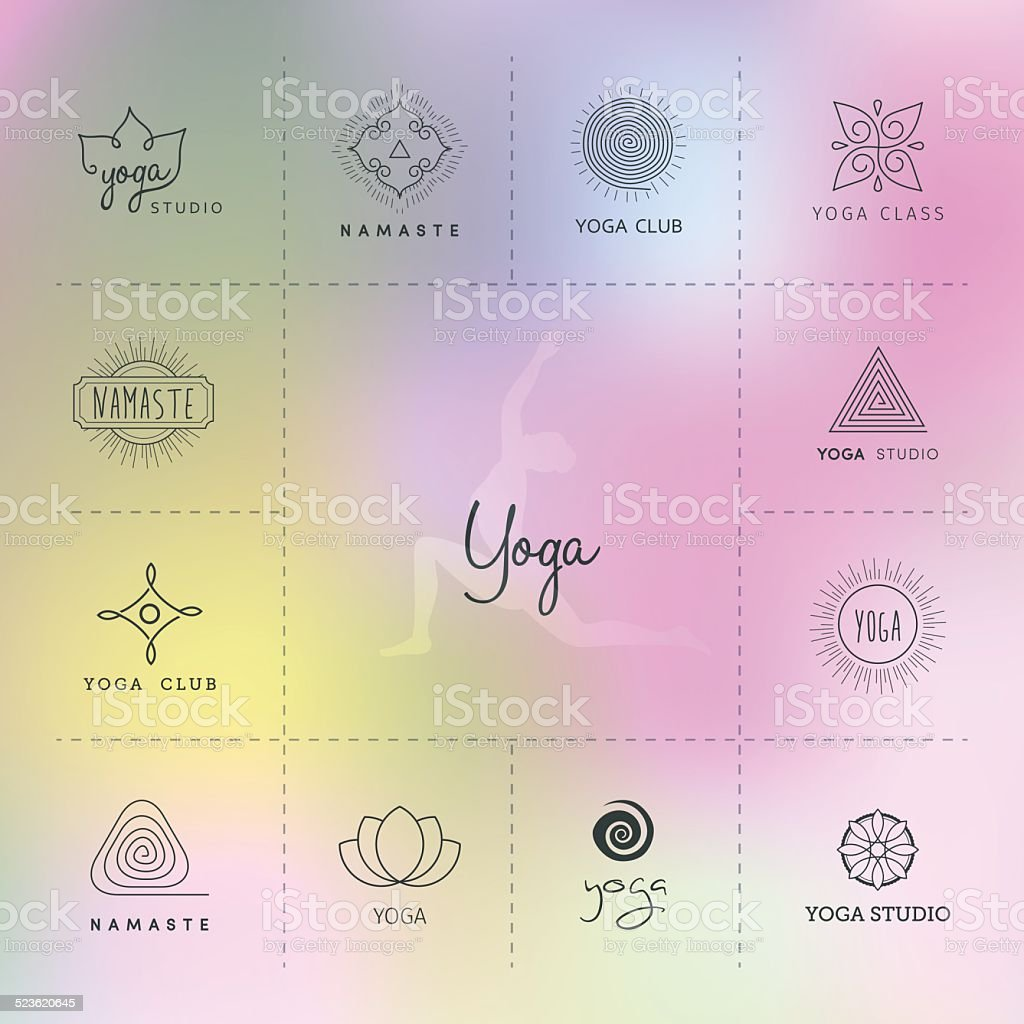Set of logos for a yoga studio vector art illustration