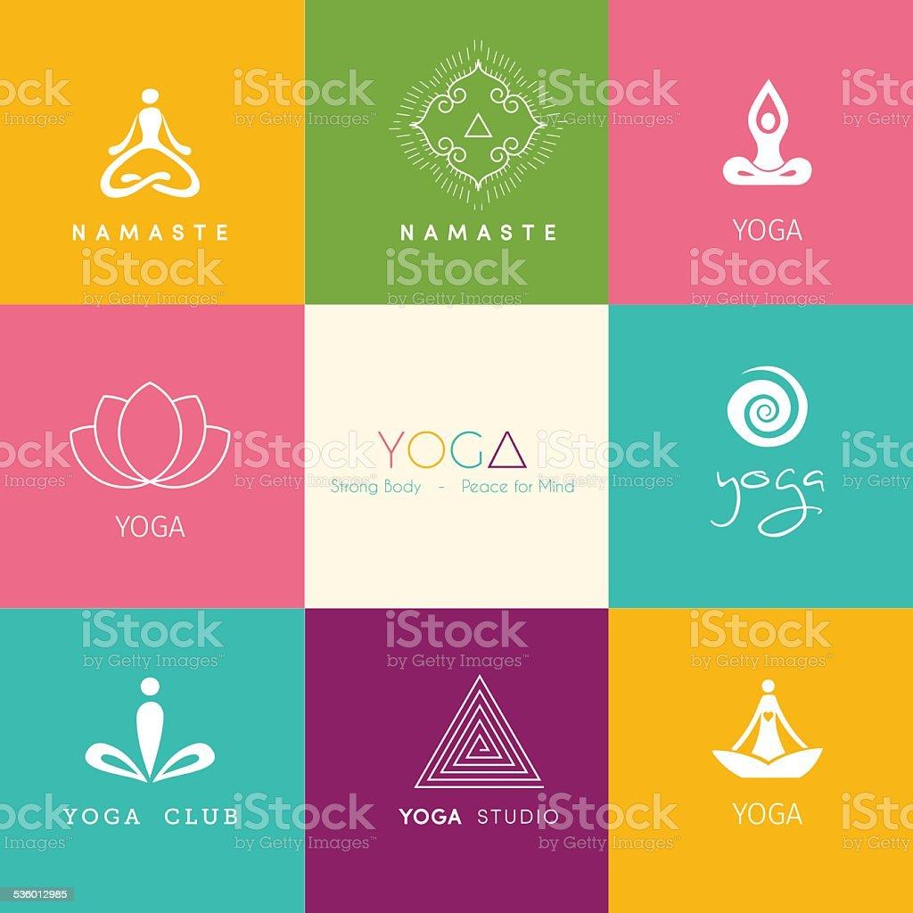 Set of logos for a yoga studio vector art illustration