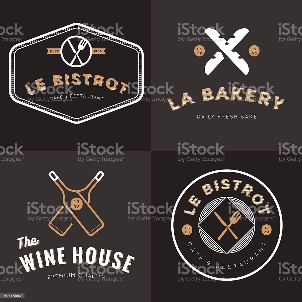 Set of logos for french food restaurant, bakery, wine, catering. vector art illustration