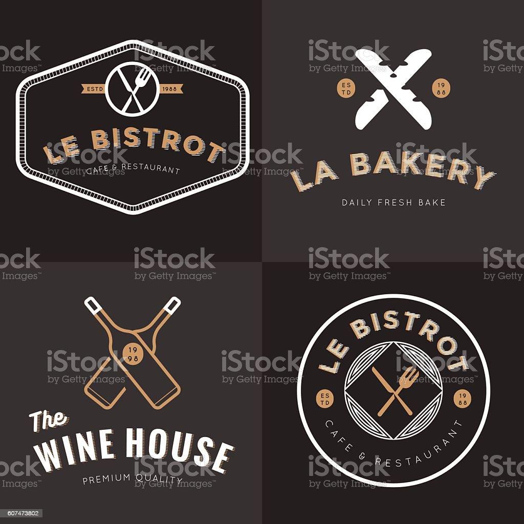 Set of logos for french food restaurant, bakery, wine, catering. vector art illustration
