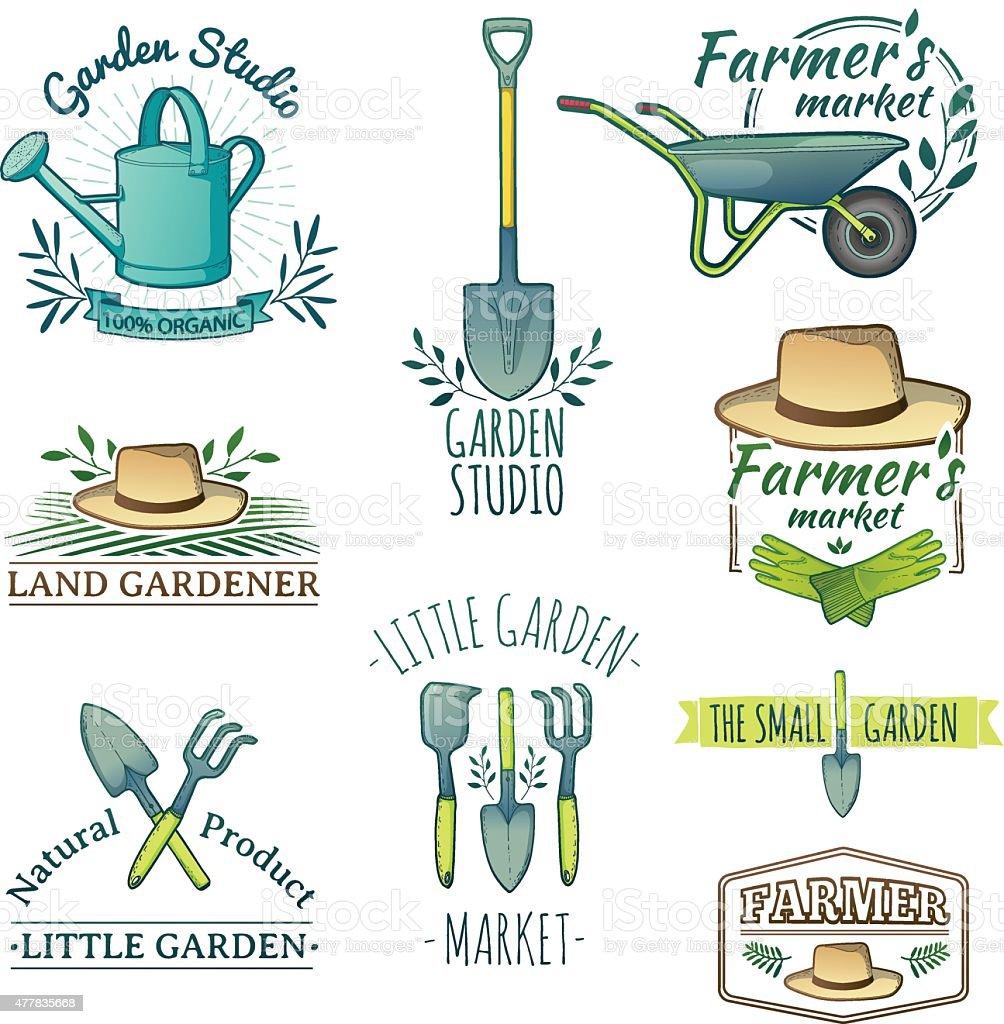 Set of logos for Shop garden, farm, organic garden. vector art illustration