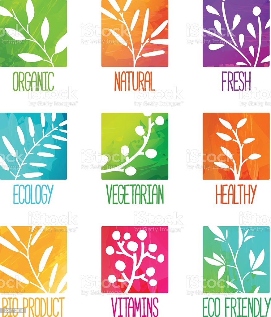 Set of logos. Silhouettes of twigs, leaves, plants, berries. vector art illustration