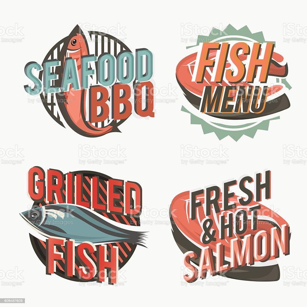 Set of logos with grilled salmon. Vector illustration. vector art illustration