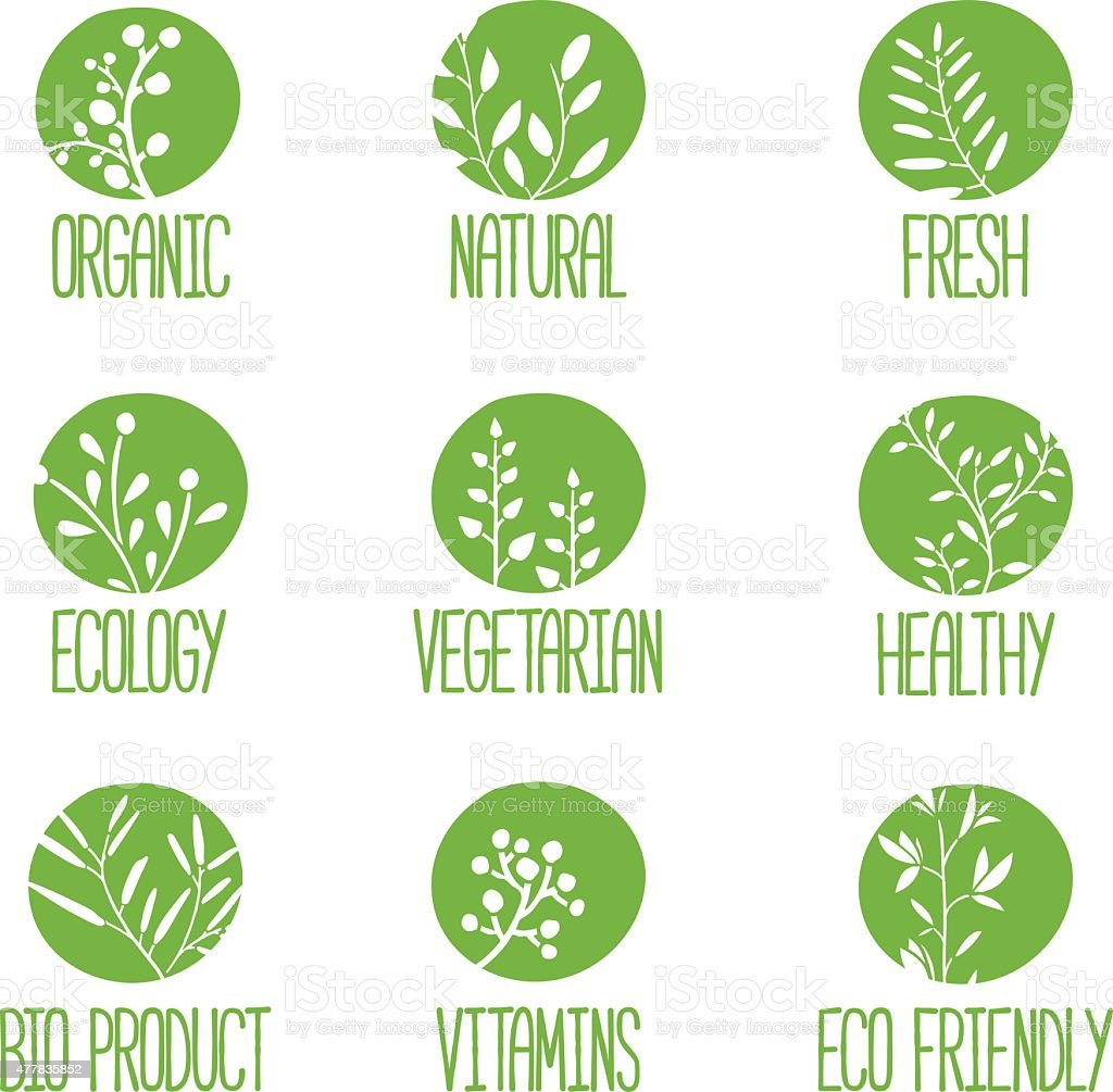 Set of logos with silhouettes of twigs, leaves, plants, berries. vector art illustration