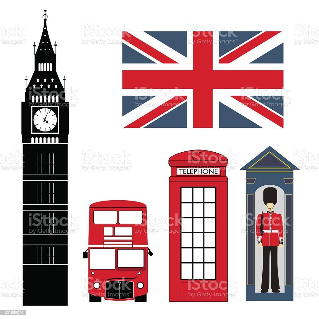Set of London Attractions vector art illustration