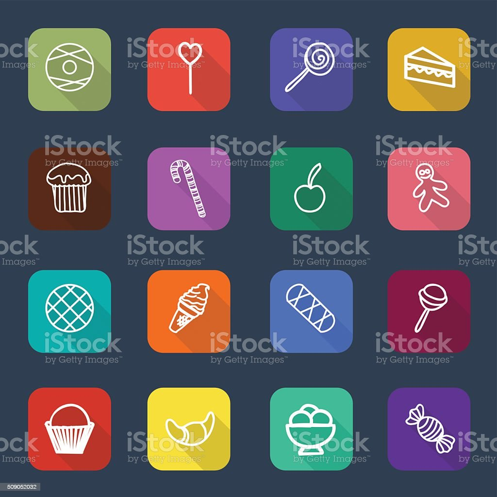 Set of long shadow sweets and candies icons vector art illustration