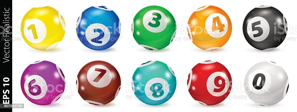 Set of Lottery Colored Number Balls 0-9 vector art illustration