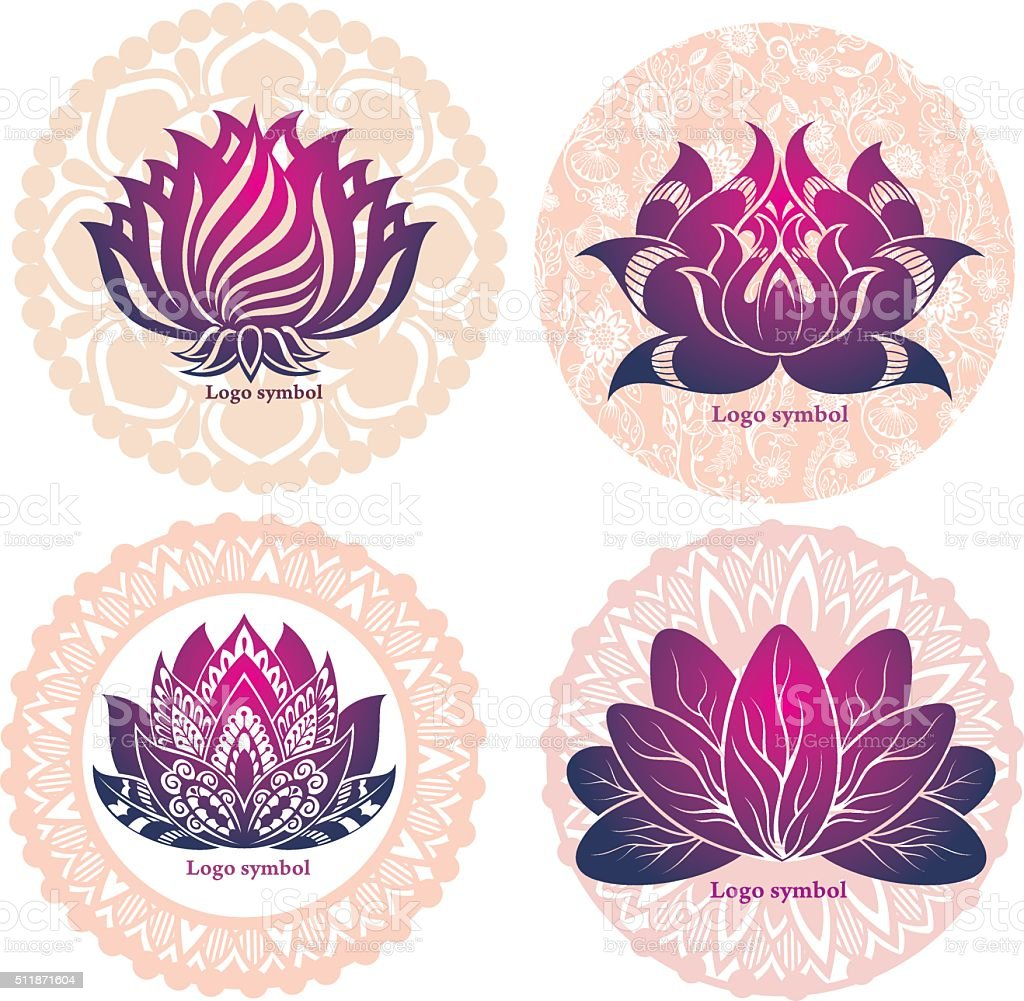 Set of lotuses and esoteric symbols vector art illustration