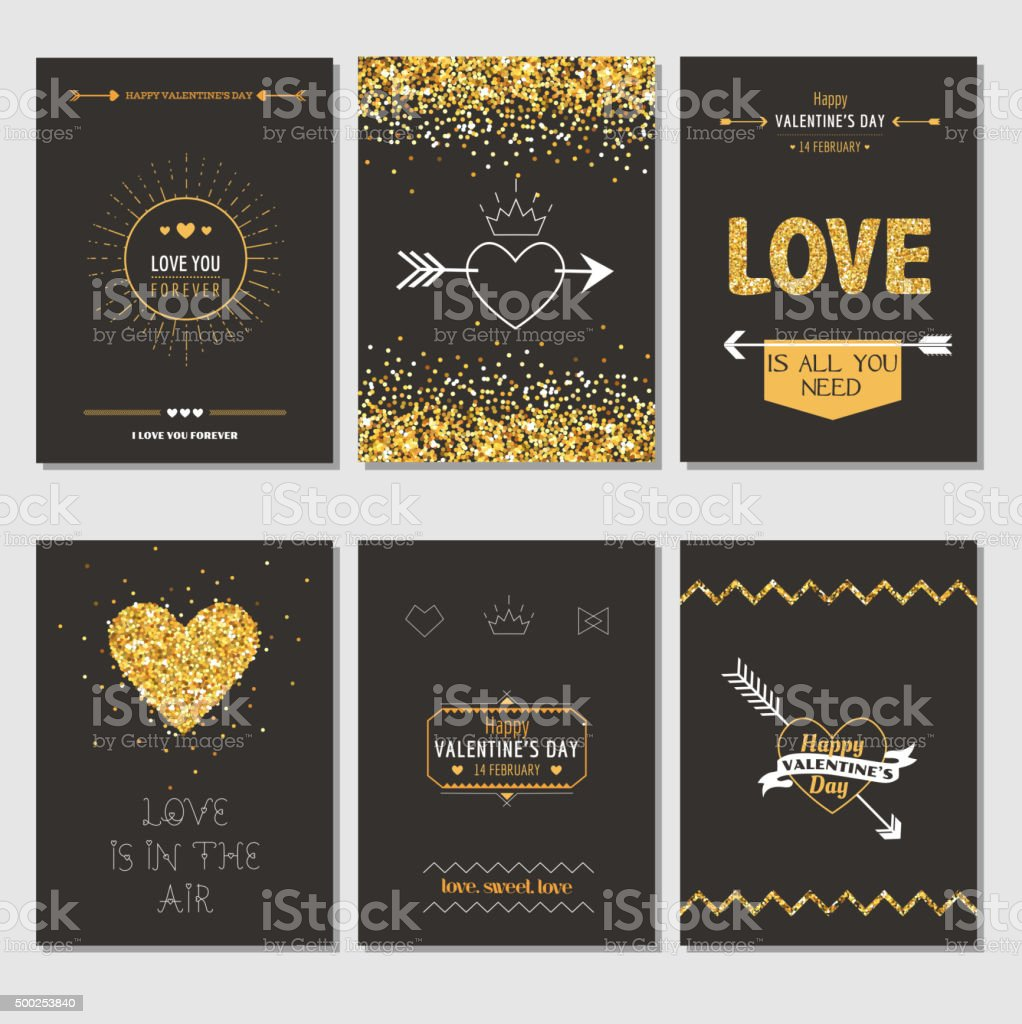 Set of Love Cards - Wedding, Valentine's Day, Invitation vector art illustration