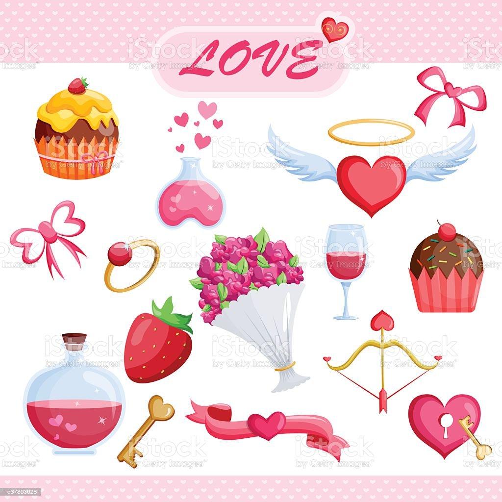 Set of Love icon vector art illustration