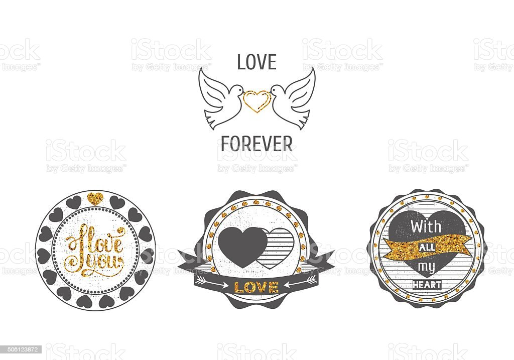 Set of love stamps in gray and with  sparkles . vector art illustration