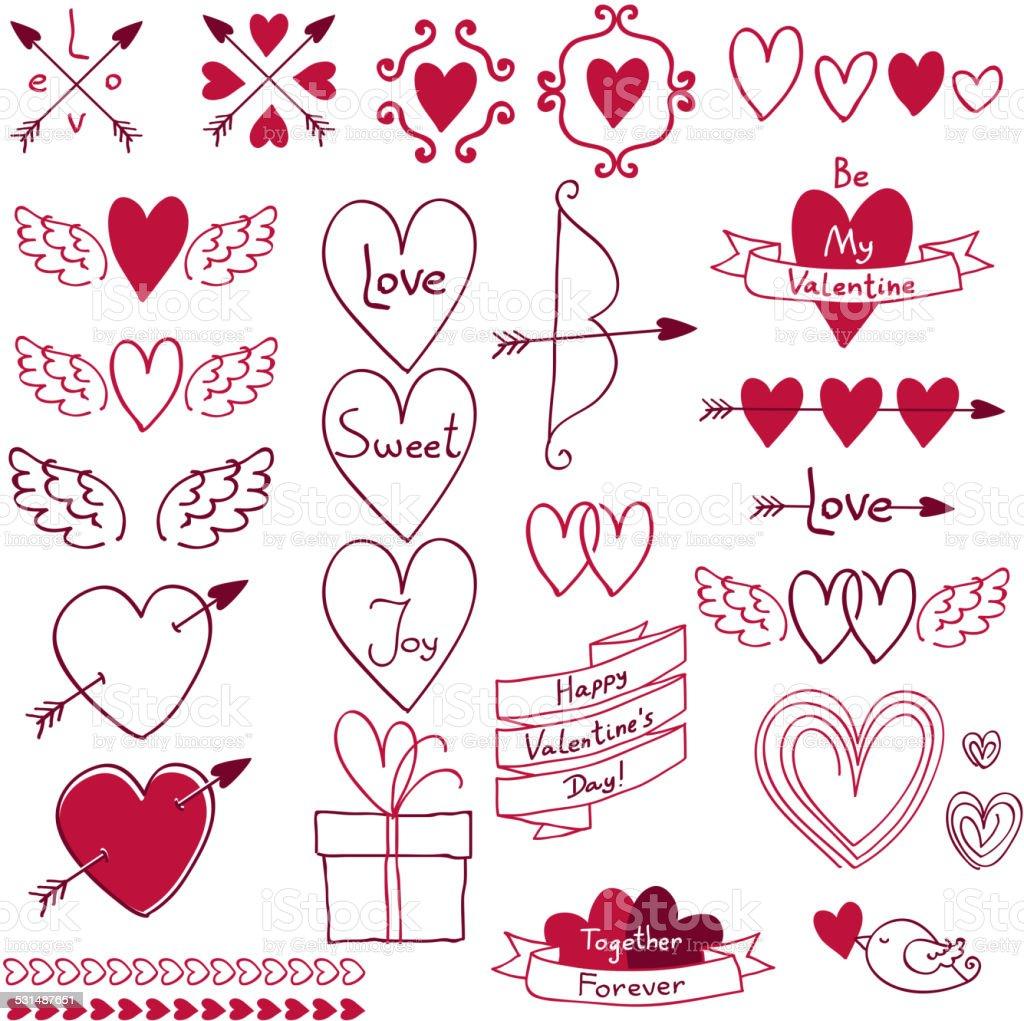 Set of love symbols. Design elements. vector art illustration