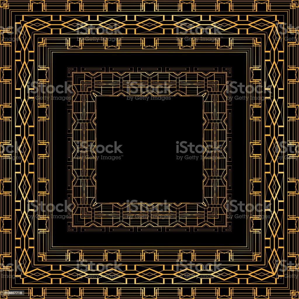 Set of luxurious gold vintage frames vector art illustration