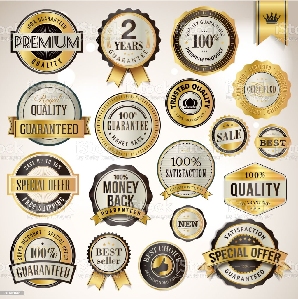 Set of luxury badges and stickers vector art illustration