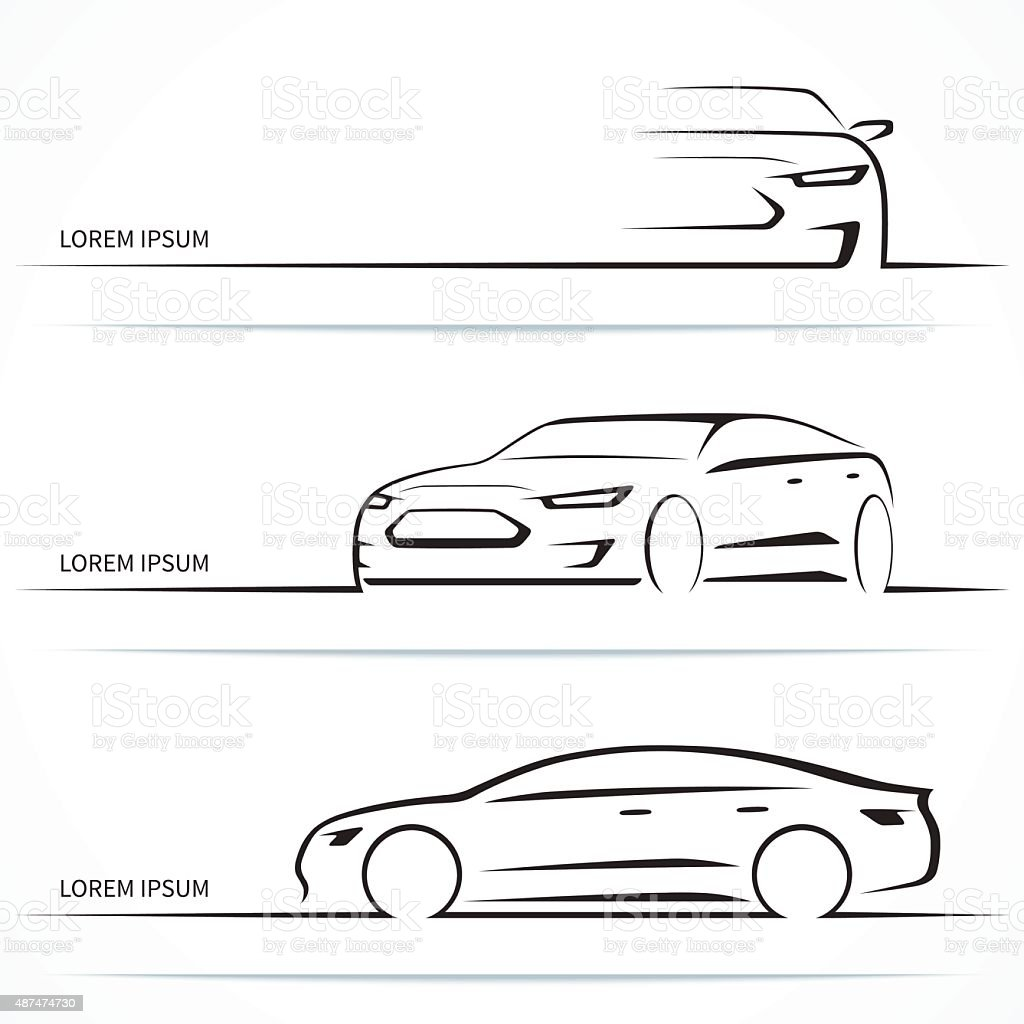 Set of luxury car silhouettes. Vector illustration vector art illustration