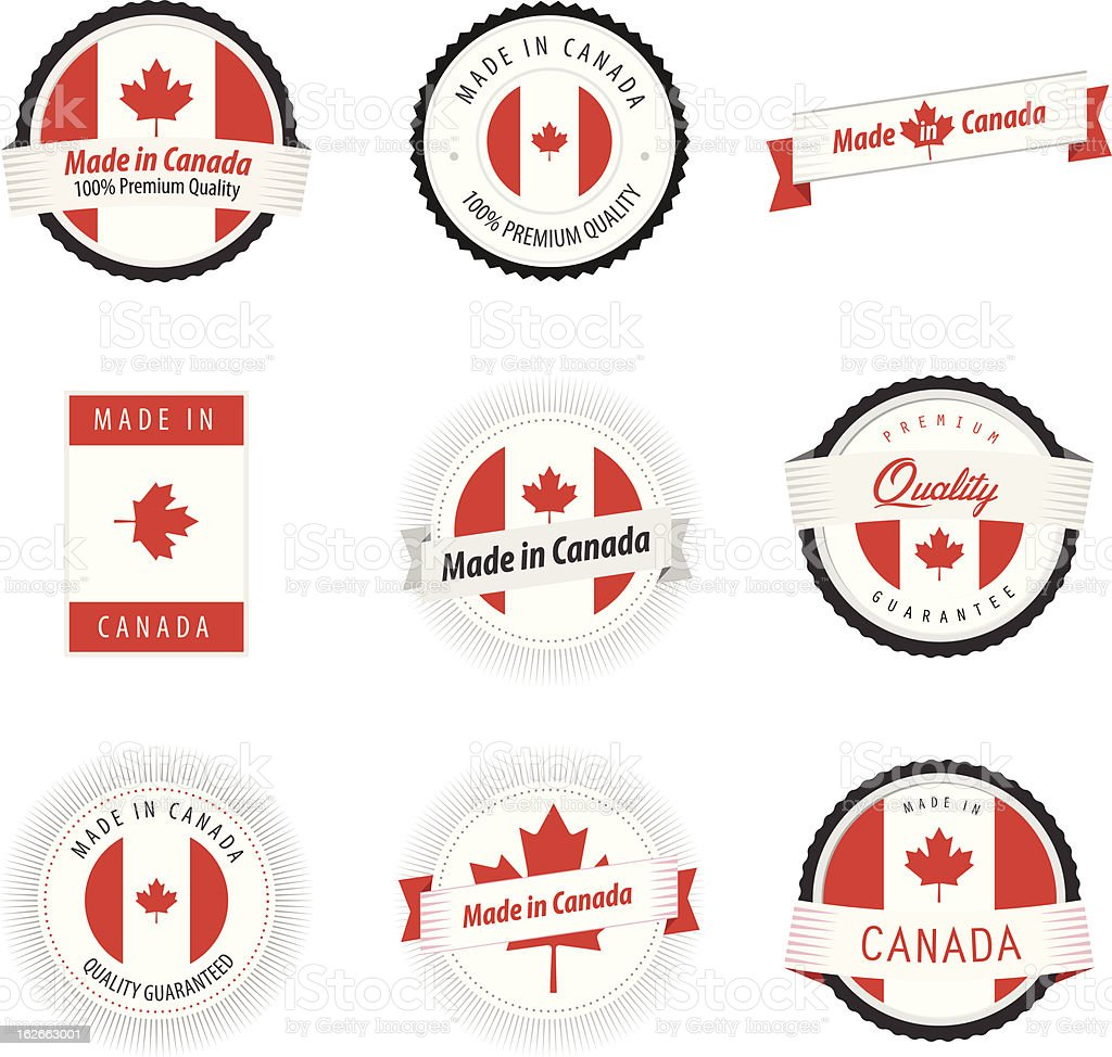Set of Made in Canada labels, badges and stickers vector art illustration