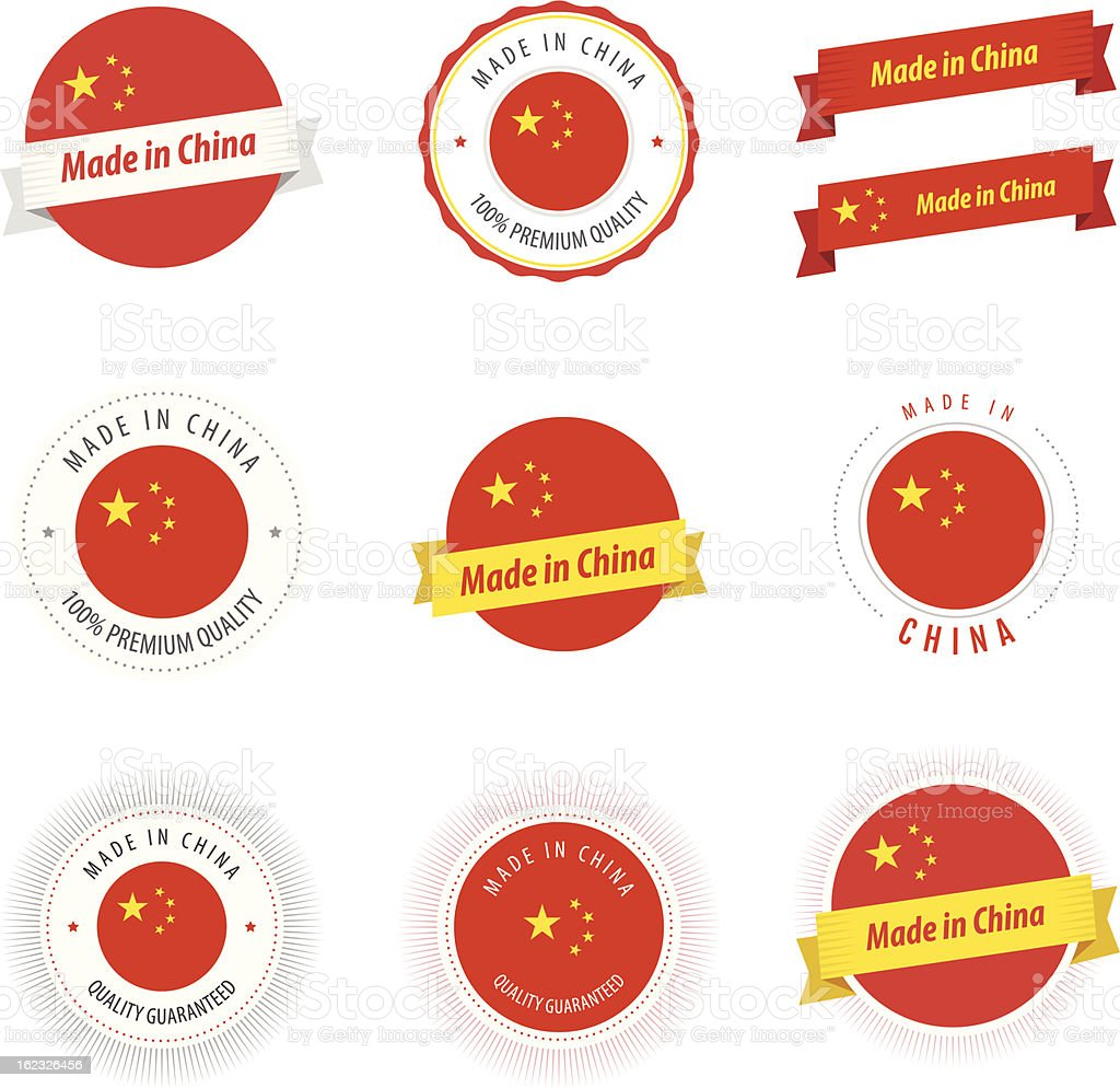 Set of Made in China labels and ribbons vector art illustration