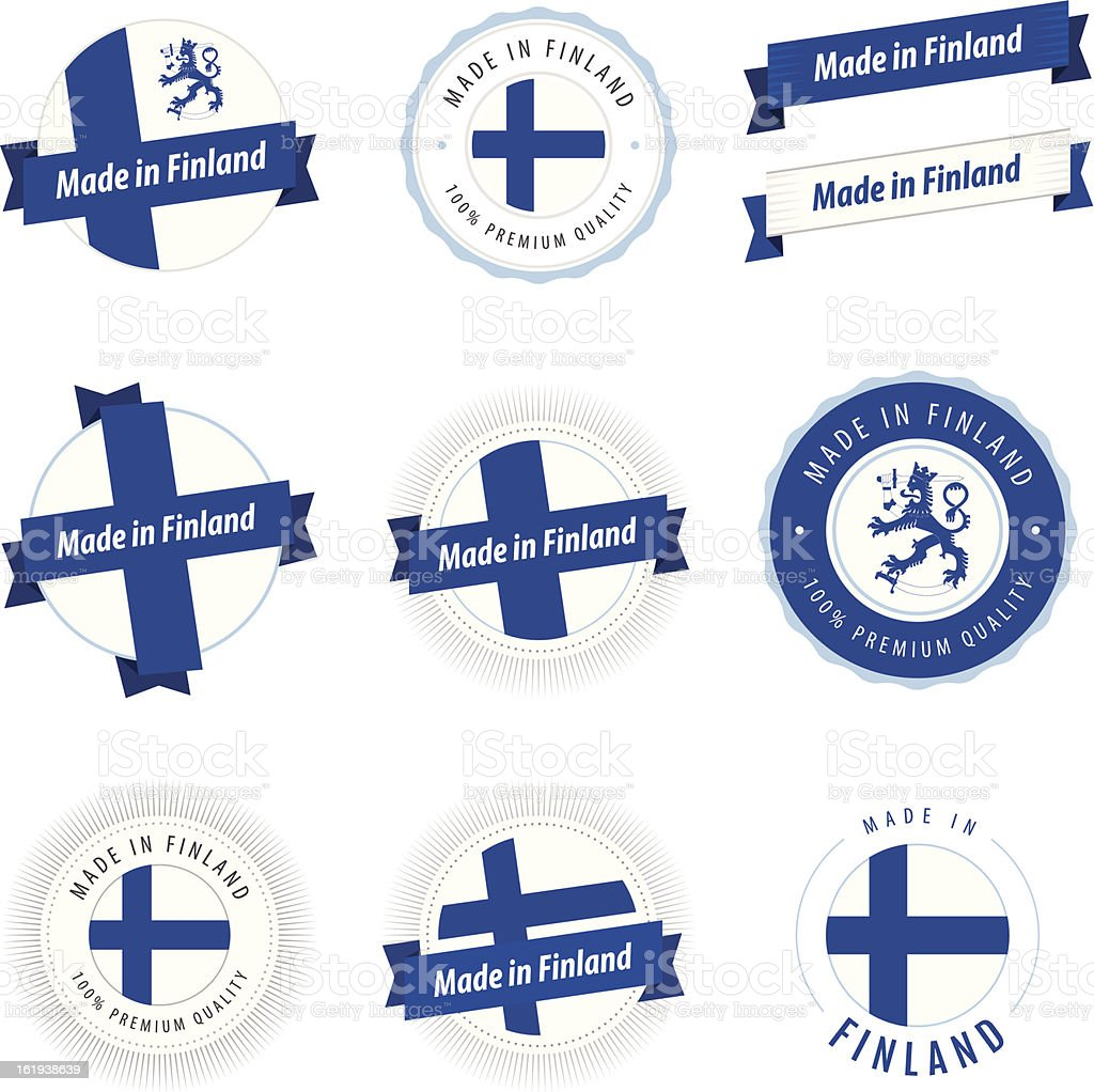 Set of Made in Finland labels and ribbons royalty-free stock vector art