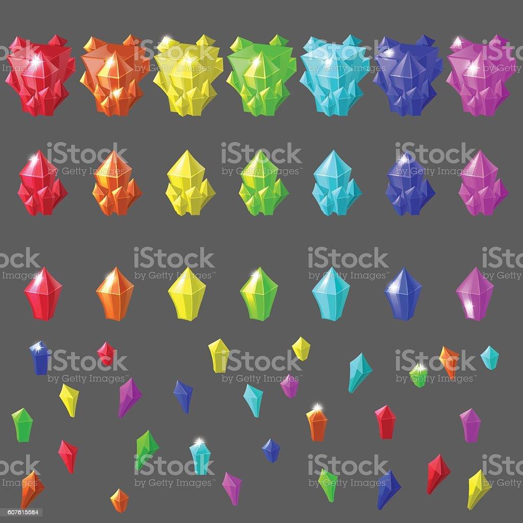 Set of magic crystals. vector art illustration