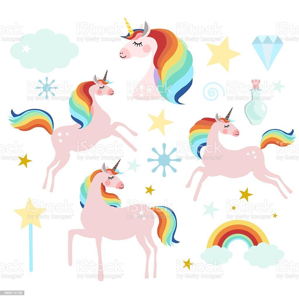 Set of magic fairy unicorn elements vector art illustration