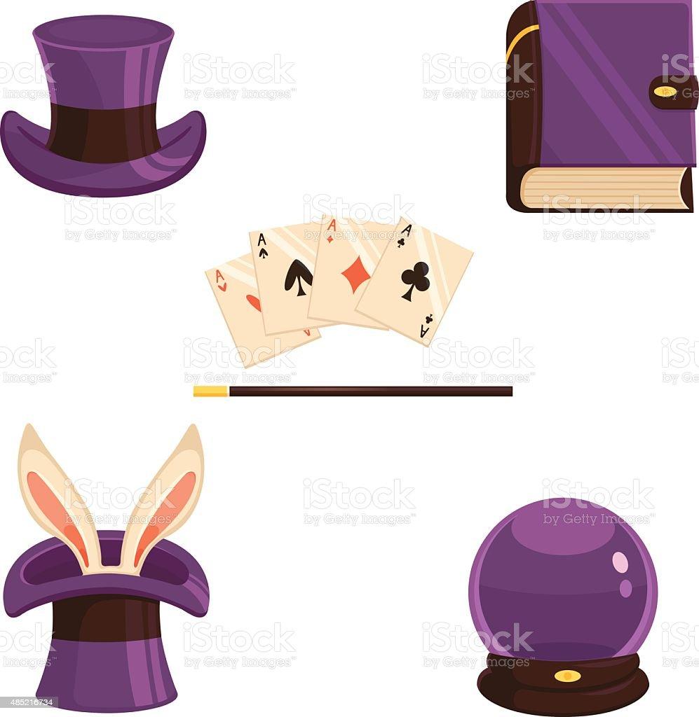 Set of magic icons vector art illustration